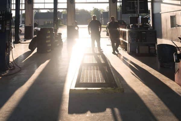 an auto-shop at dawn