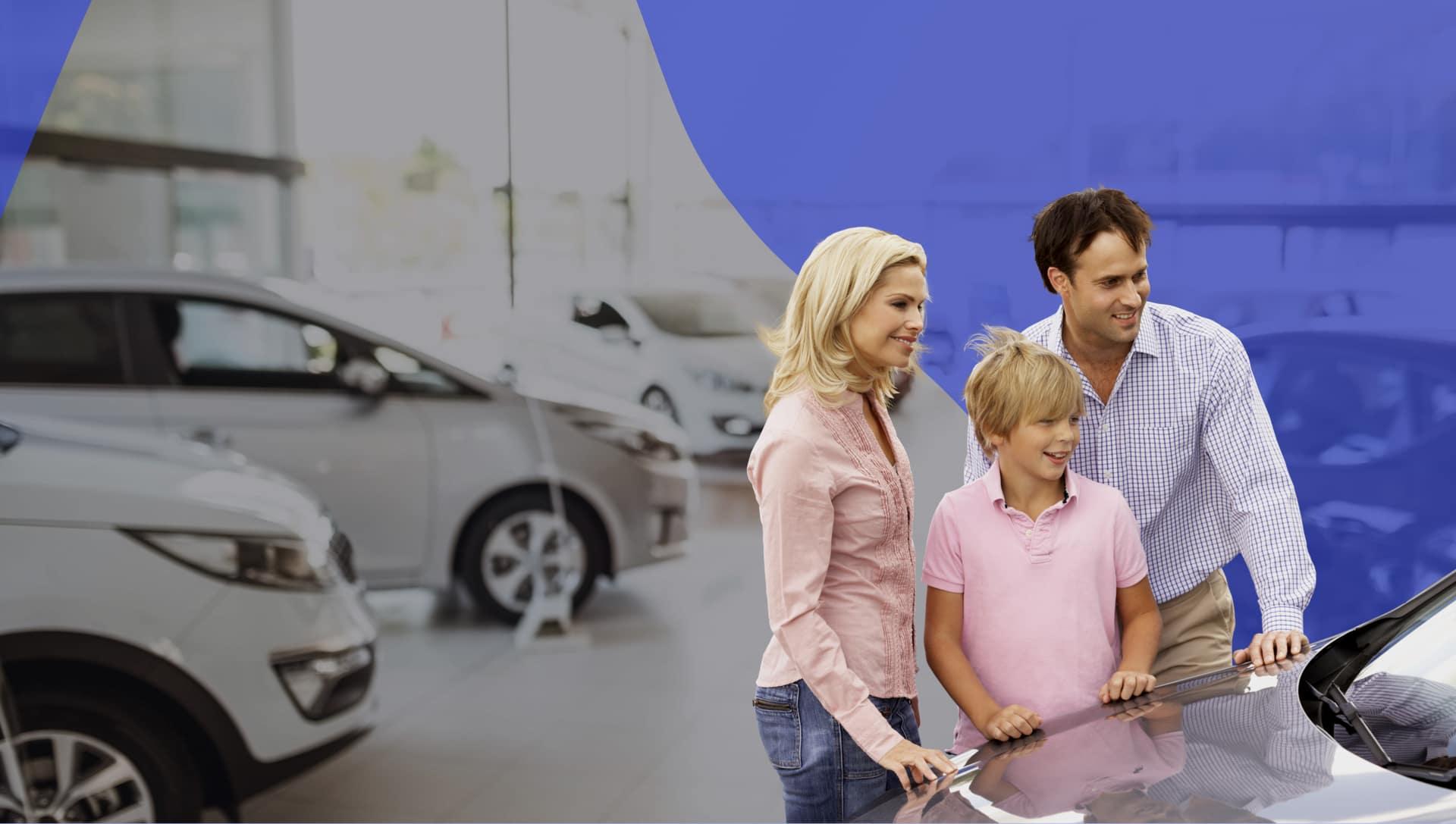 Family Looking at Car