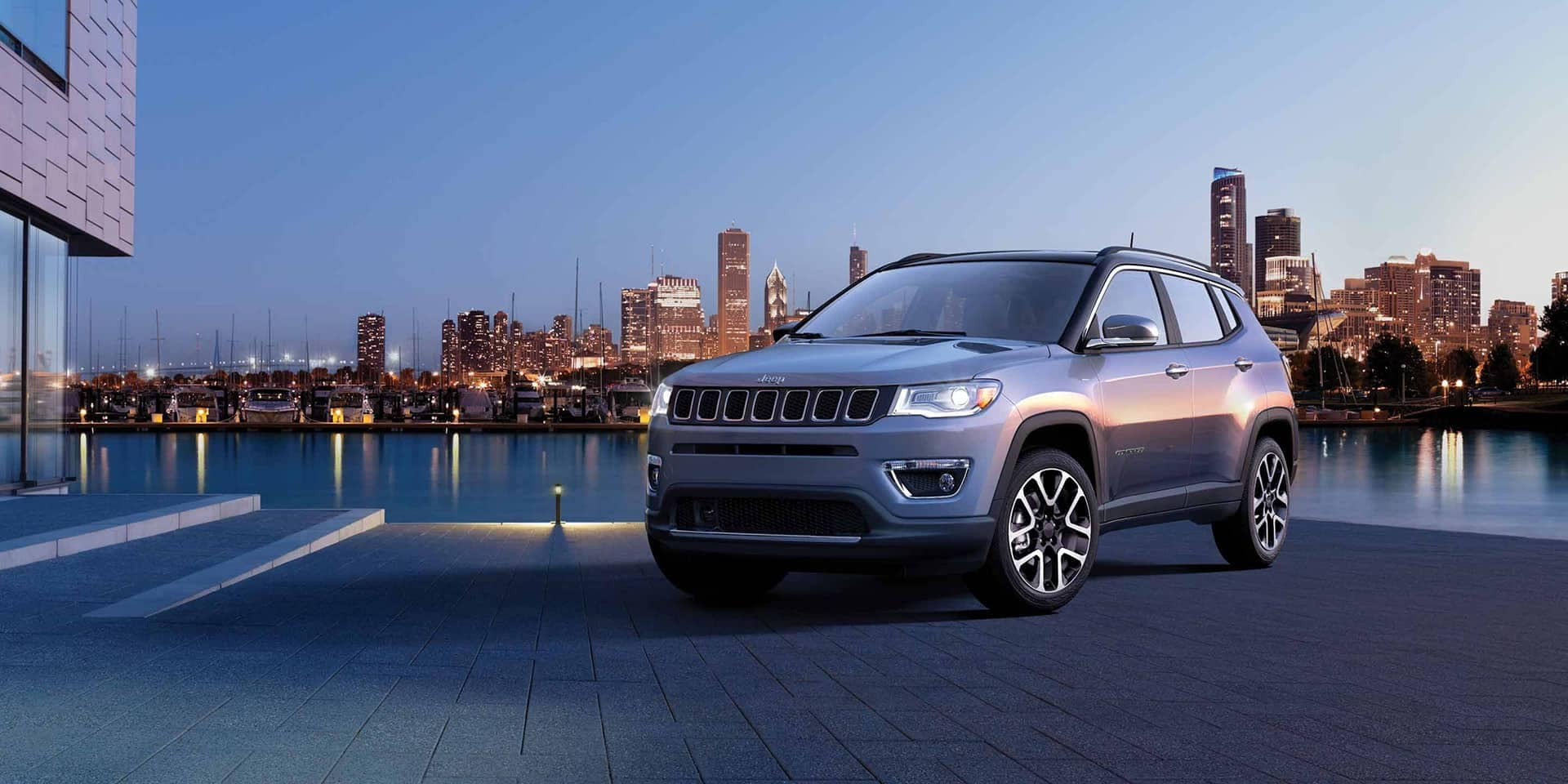 2019 Jeep Compass Gallery Exterior Laltitude Grey Front Skyline