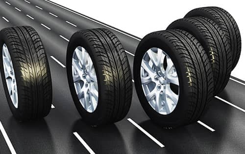 car tires on road