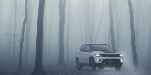 Jeep Compass Parked in Fog