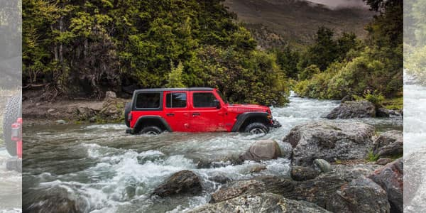 Jeep Wrangler Wading Through Water