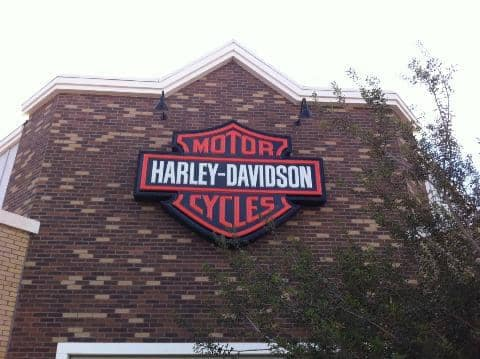 Closeup image of the Harley-Davidson logo on the wall outside Chandler Harley-Davidson.