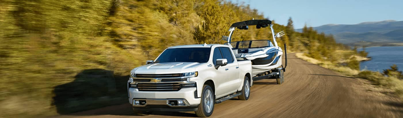 2020 Chevrolet Silverado 1500 towing a boat