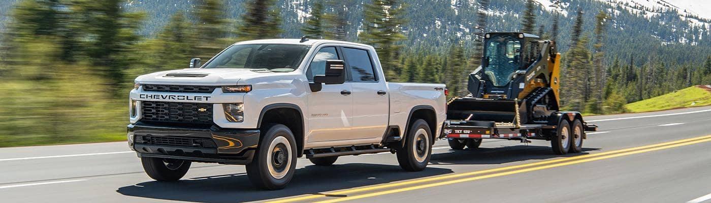 Chevy Silverado pulling a trailer