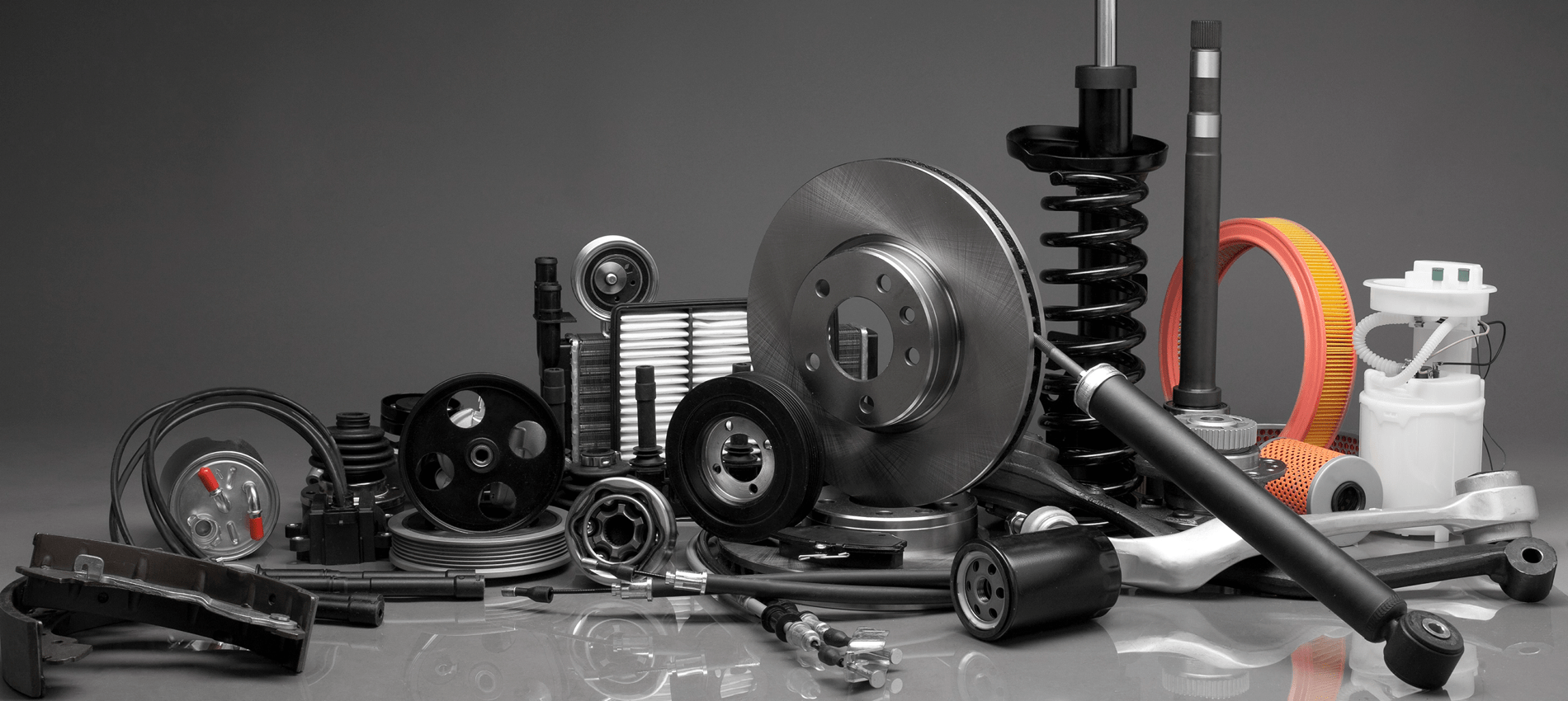 auto parts placed on a table