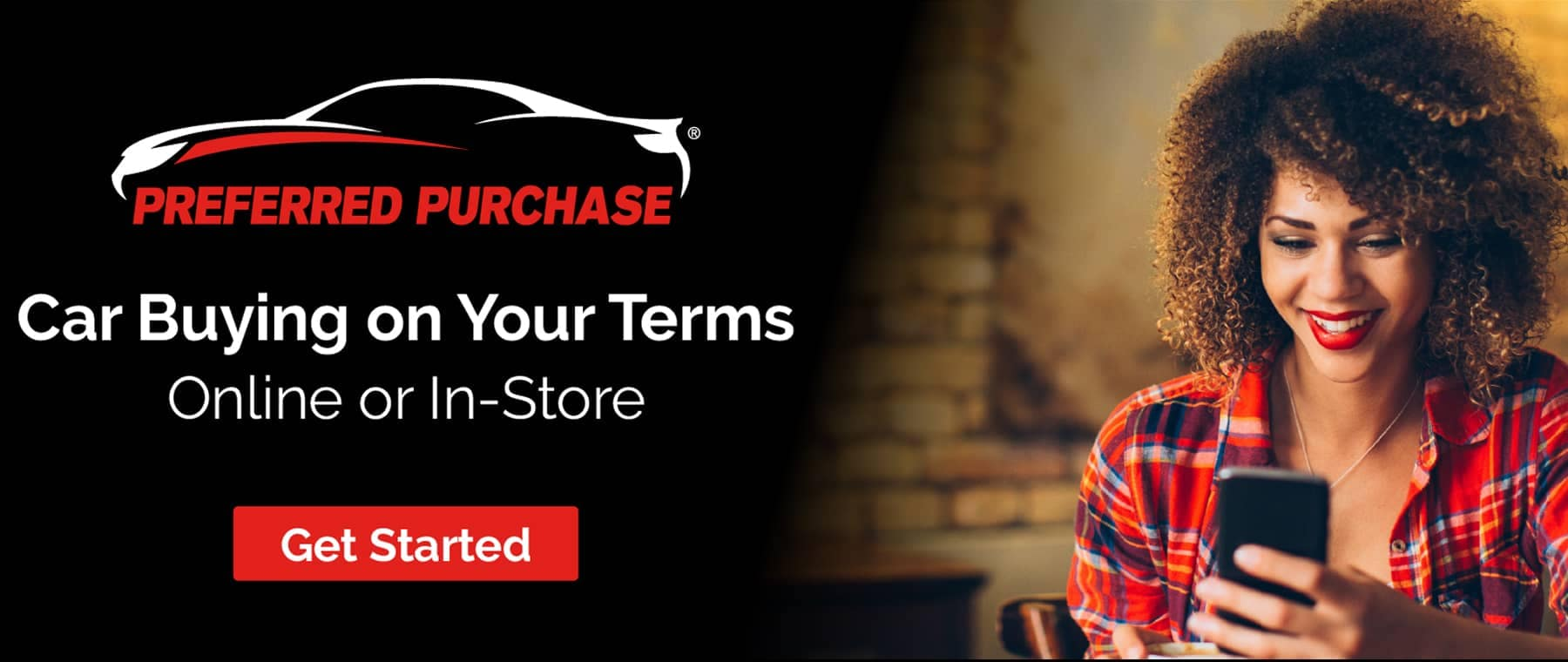 preferred purchase banner with woman using cell phone