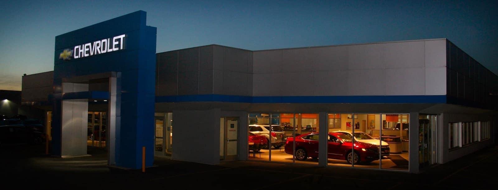 An exterior shot of a Chevrolet dealership