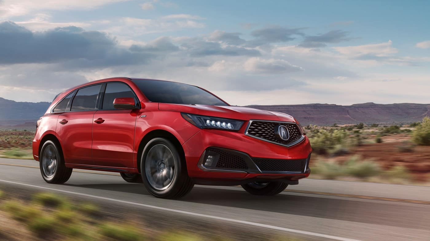 2018 Acura MDX Red Driving