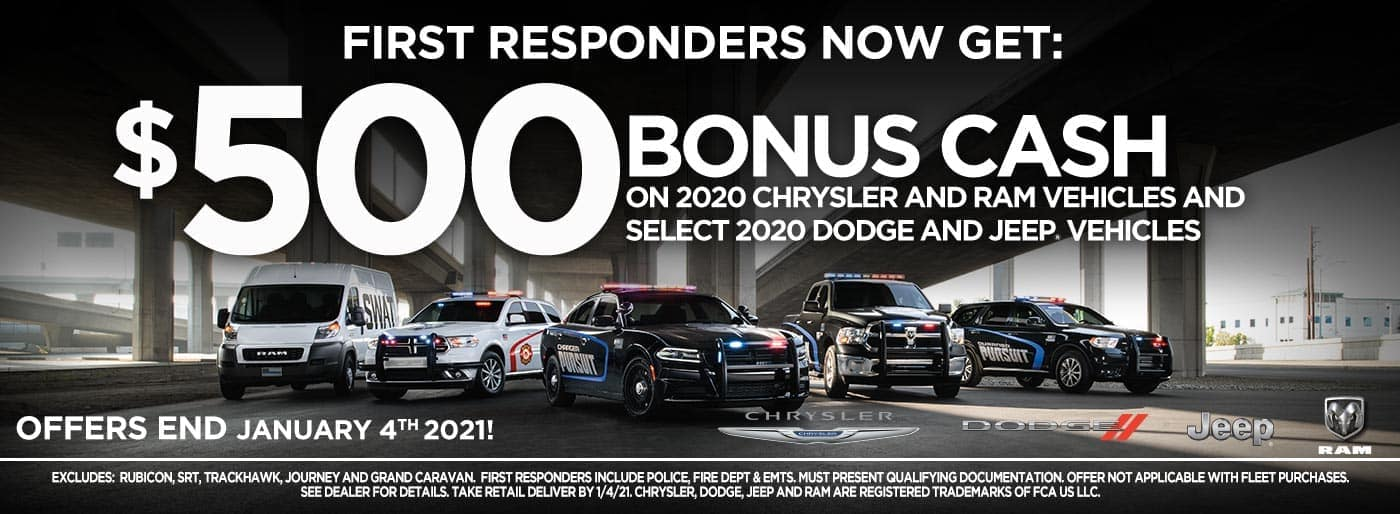 First Responder Bonus Cash incentive banner
