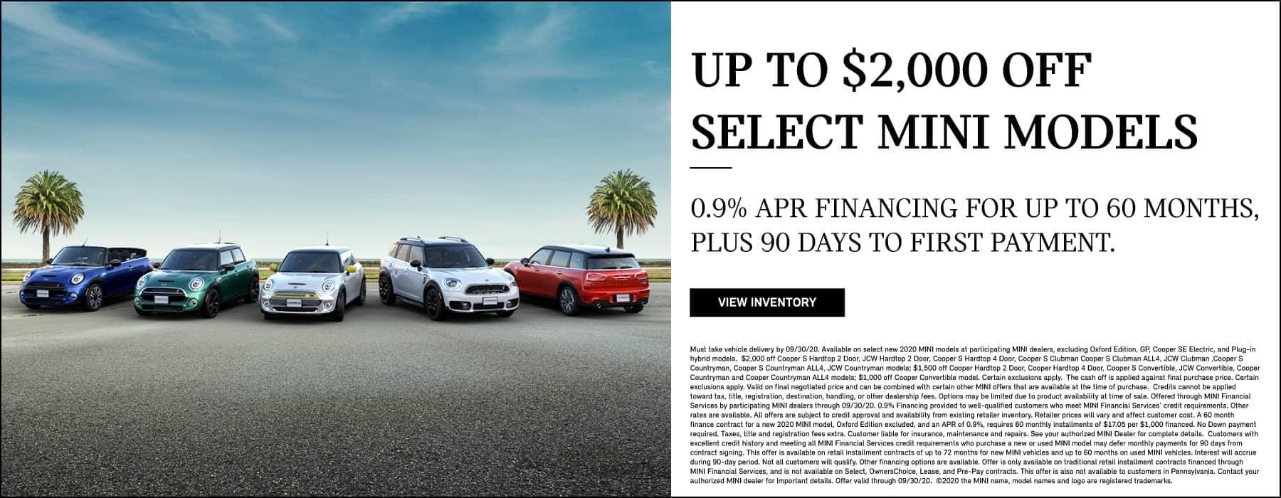 $2,000 off select MINI models
