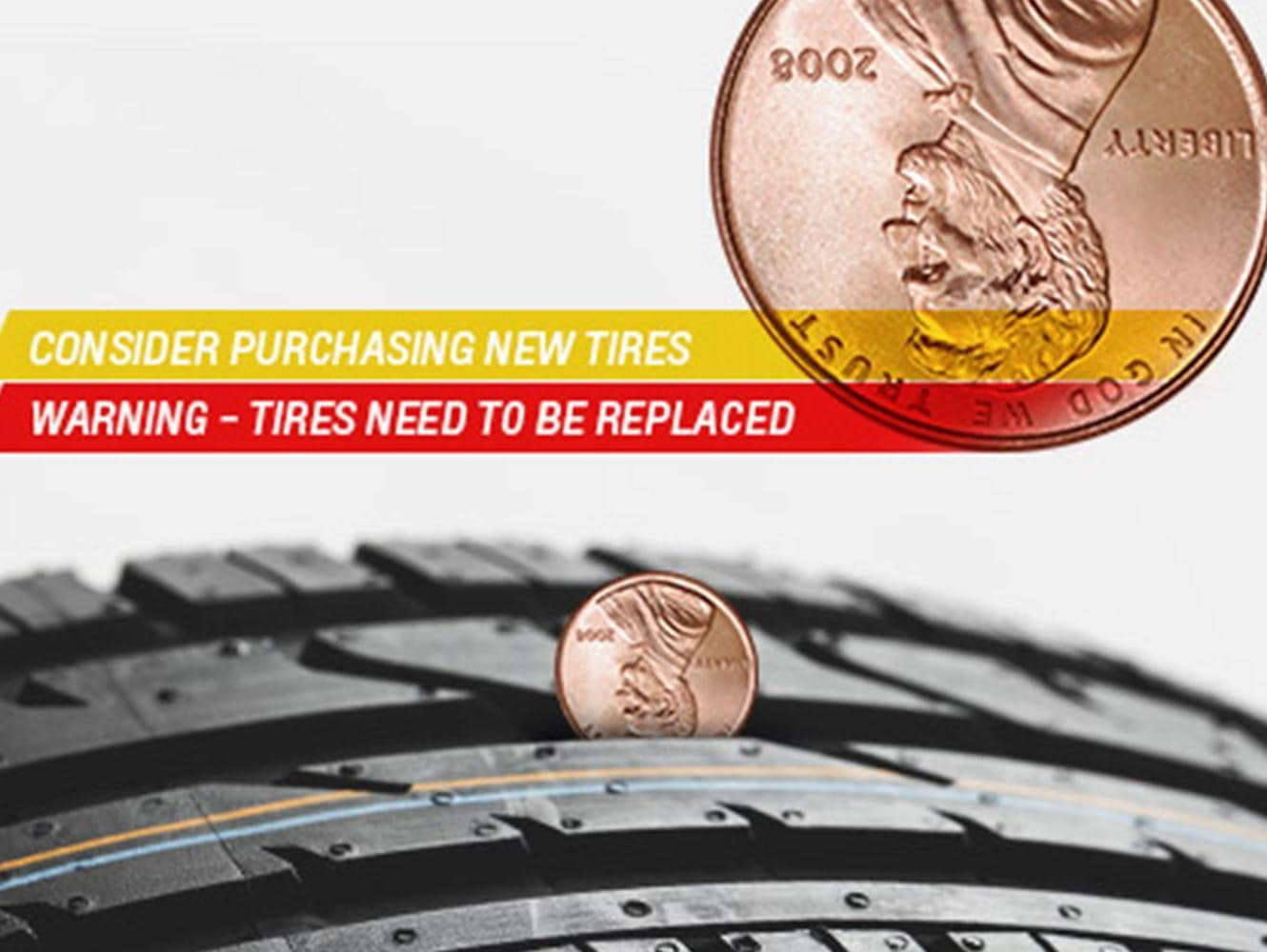 tires thread check with a coin