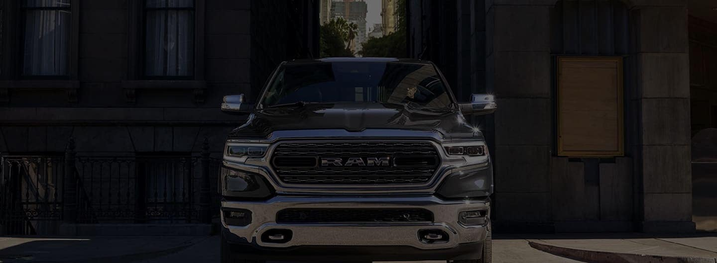 Hero background image. Ram truck facing the street