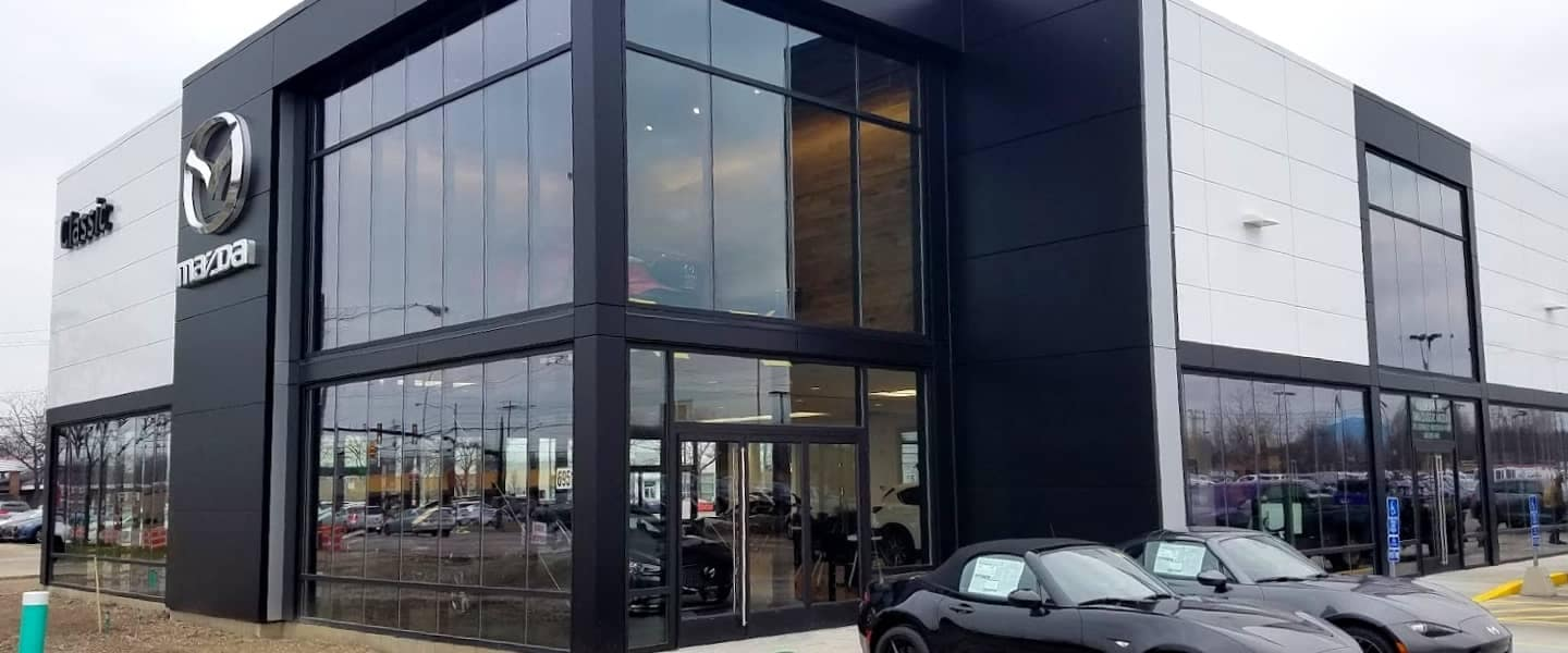 Classic Mentor Mazda Dealership Outside during the day