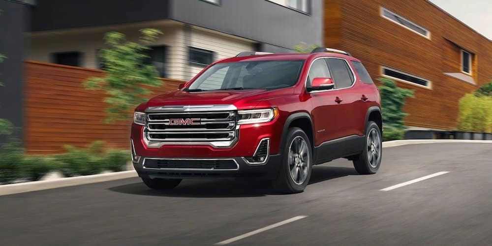 Red 2020 GMC Acadia on City Street