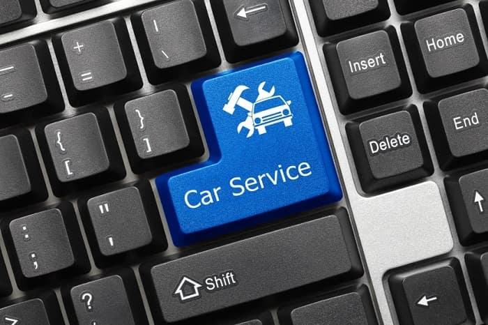 Car service button on computer keyboard