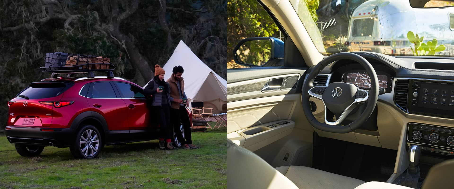 Couple leaning against an SUV at a campsite and the interior of a vehicle