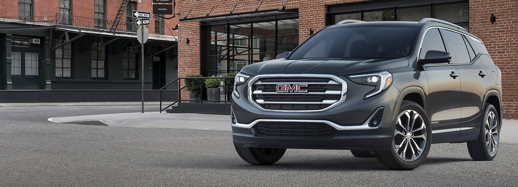 2020 GMC Terrain Angled View Parked in front of Building