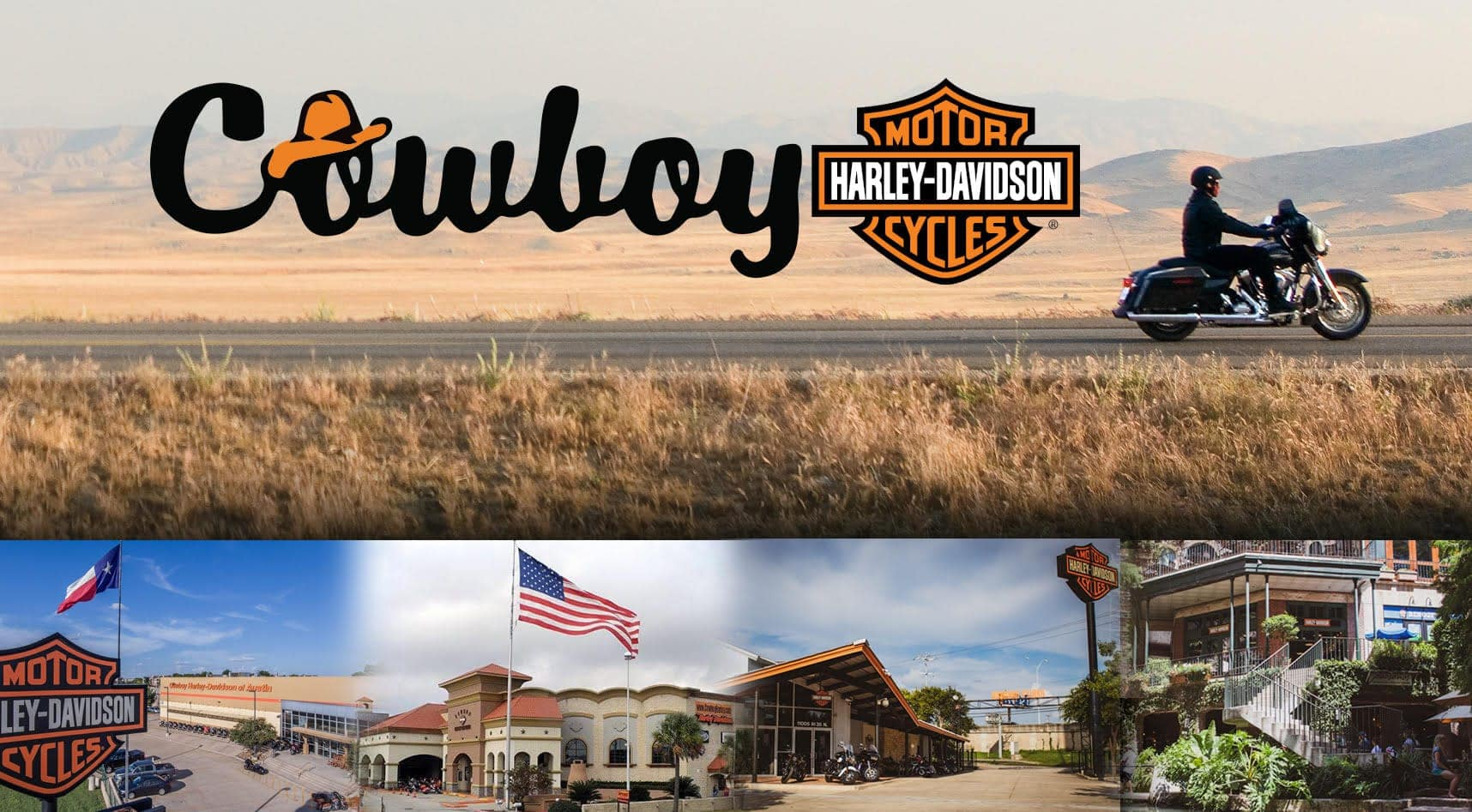 Cowboy Harley-Davidson photo collage of motorcyles and dealership