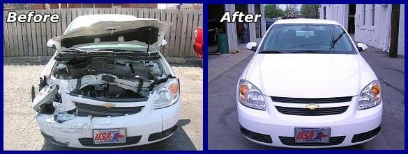 Car before and after repair
