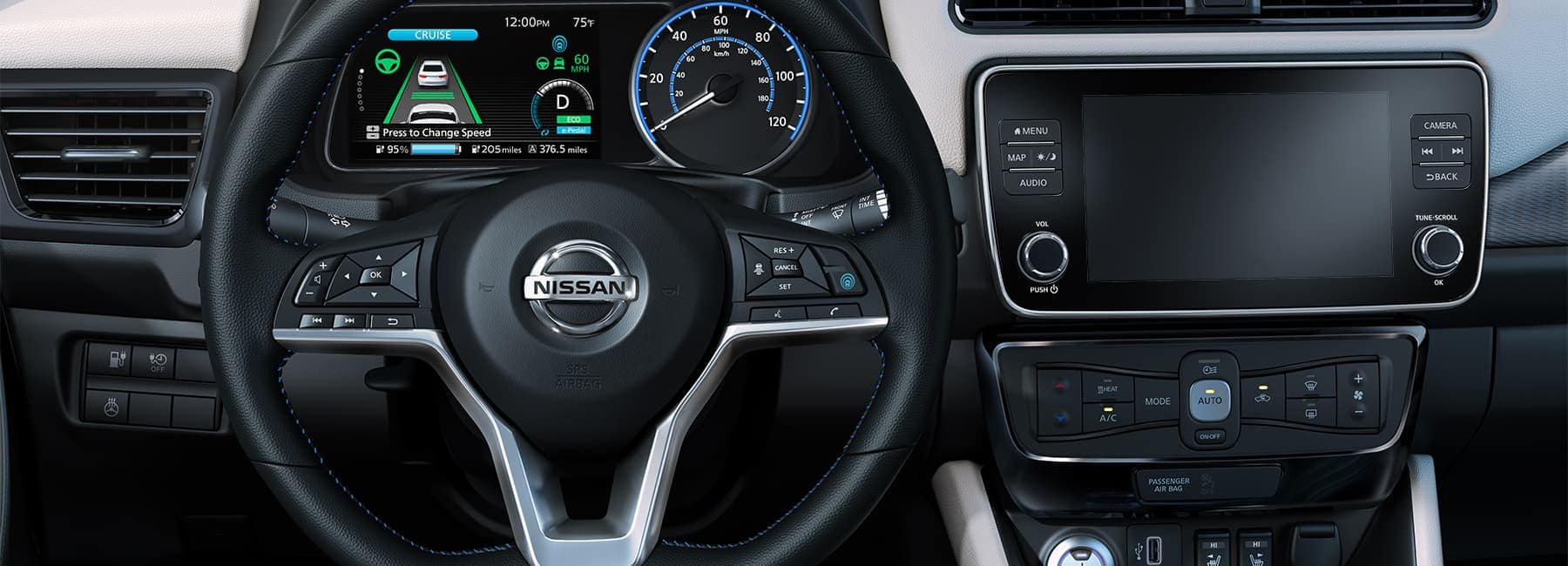 2020 nissan leaf interior steering wheel