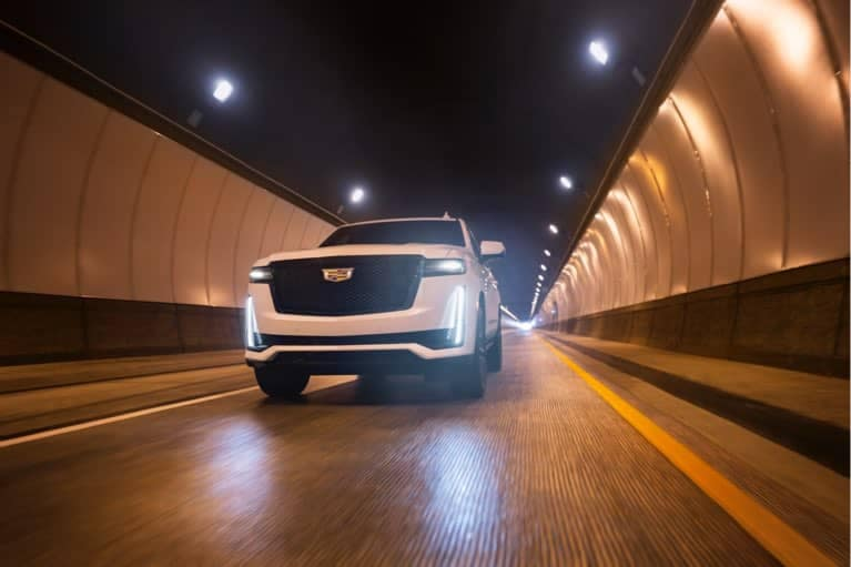 2021 Cadillac Escalade driving through tunnel mobile