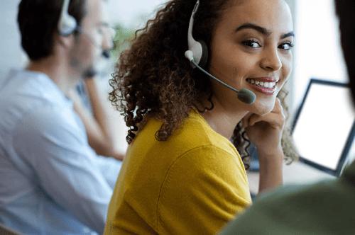 smiling customer rep