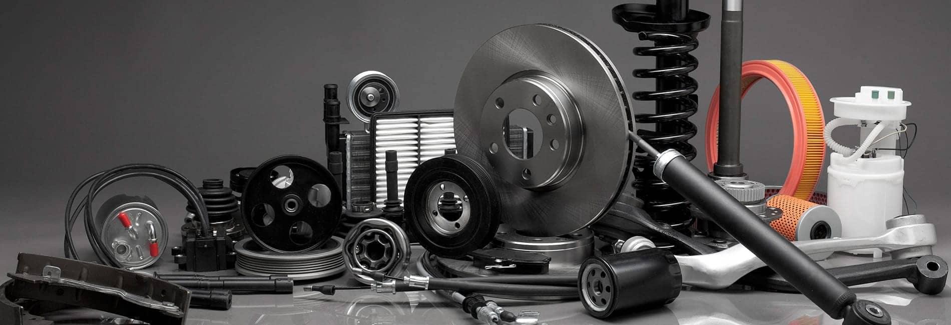 Car parts displayed