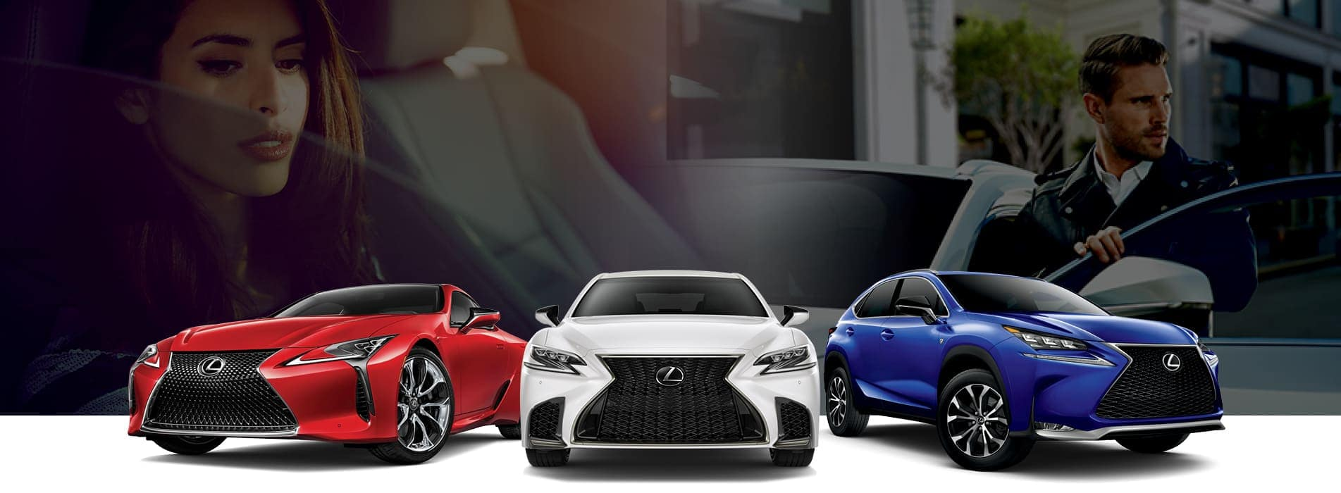 Lexus line-up against a background of a woman sitting in a car and a man getting into a car