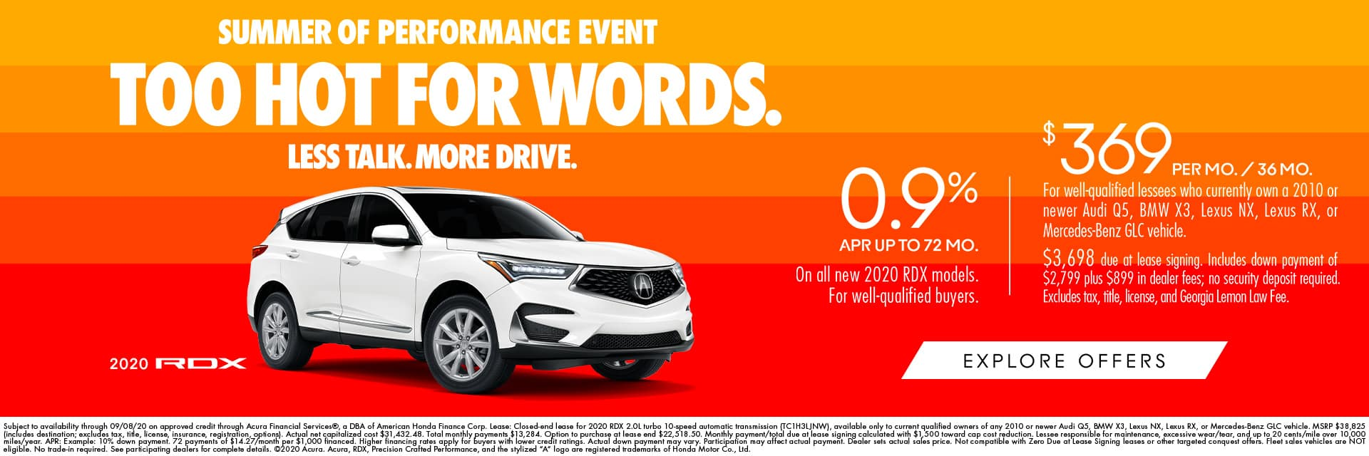 RDX Targeted Conquest Lease $369 + 0.9% APR (GA)