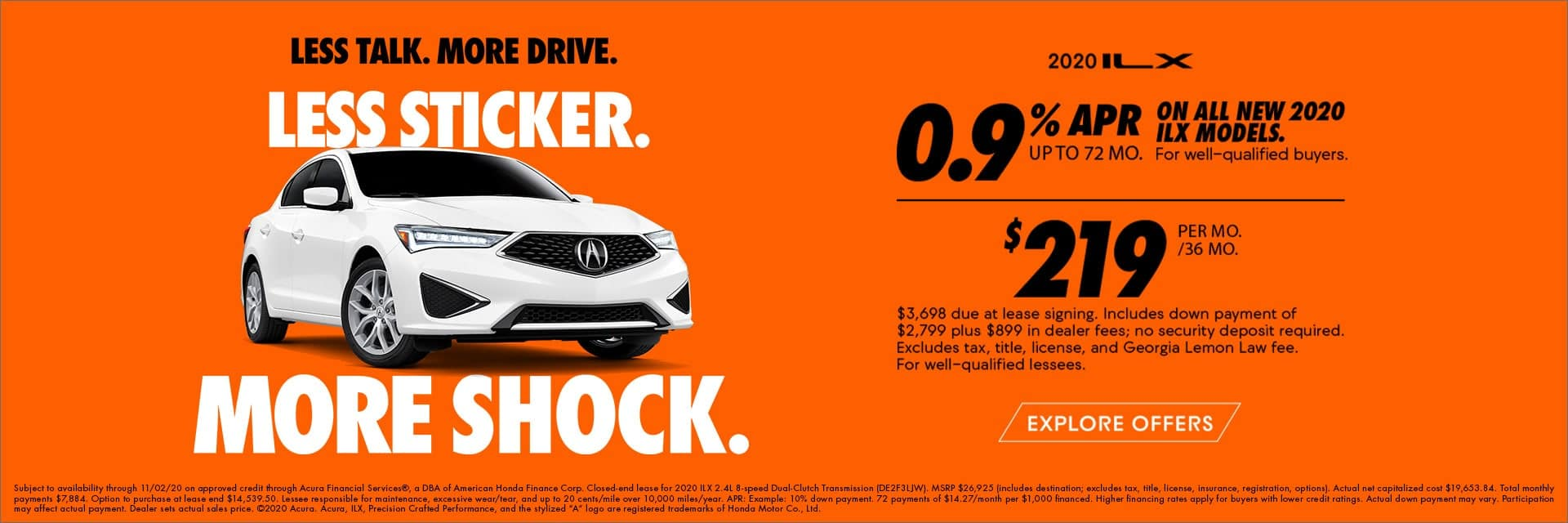 2020 Acura ILX 0.9% for 72mo or $219/mo lease