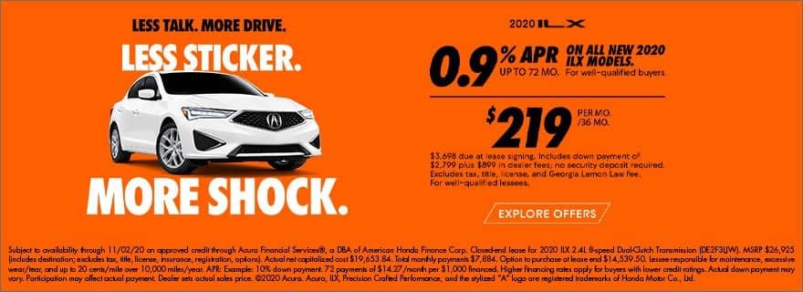 2020 Acura ILX 0.9% for 72mo or $219/mo lease