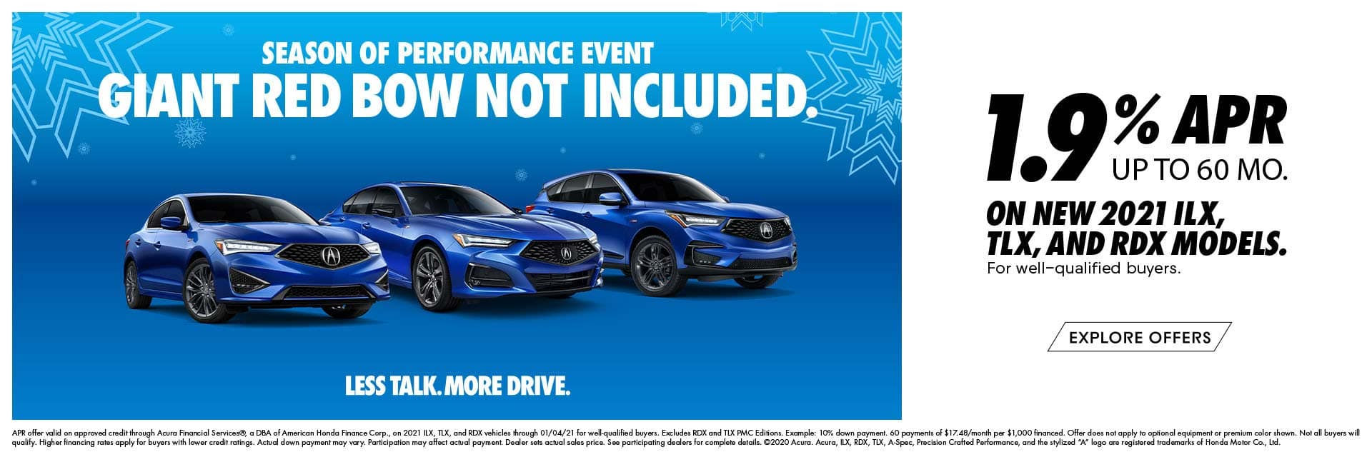 1.9% APR for up to 60 mo. on 2021 Acura ILX, TLX and RDX
