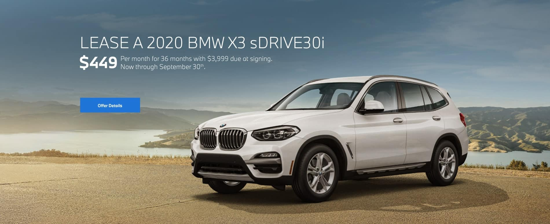 2020 BMW X3 xDrive30i for $449/mo