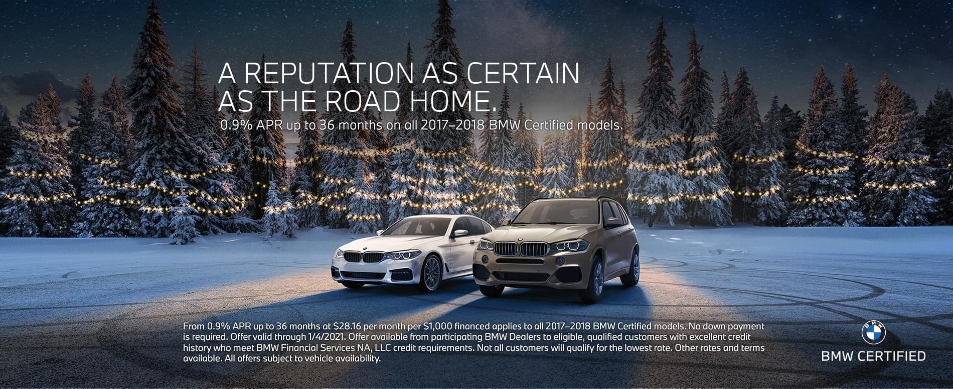 BMW CPO vehicles in front of a forest in winter