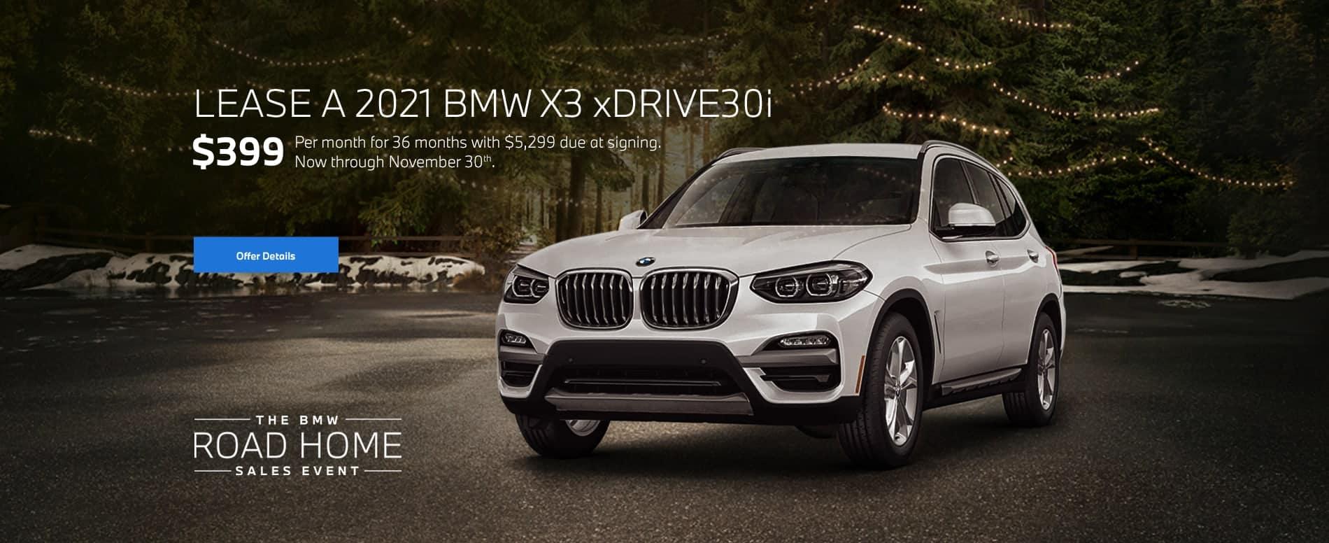 2021 BMW X3 xDrive30i Lease for $399/mo