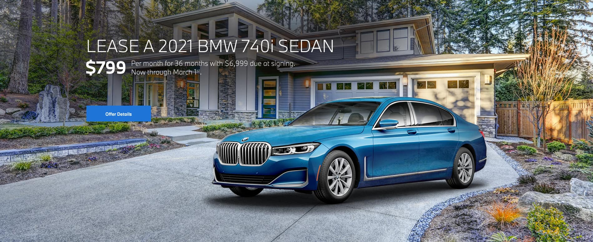 Blue 7 series parked in house driveway