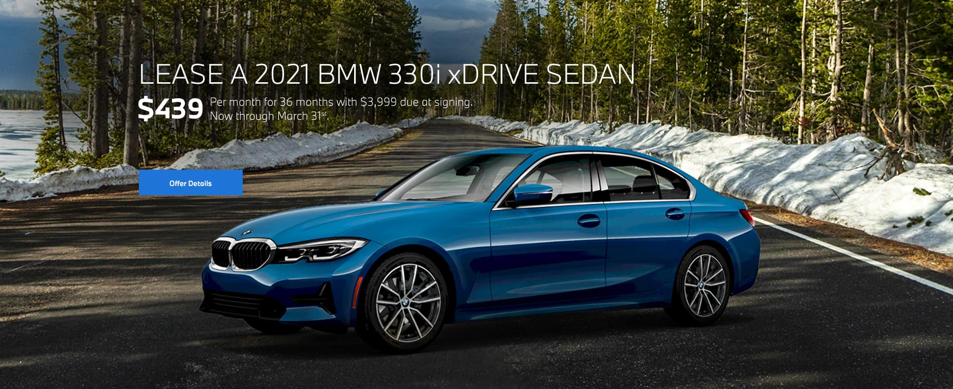 Blue 3 Series on open road