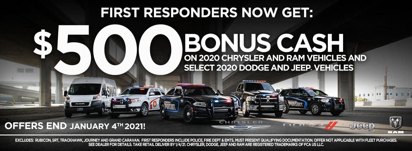 First Responder Bonus Cash incentive banner