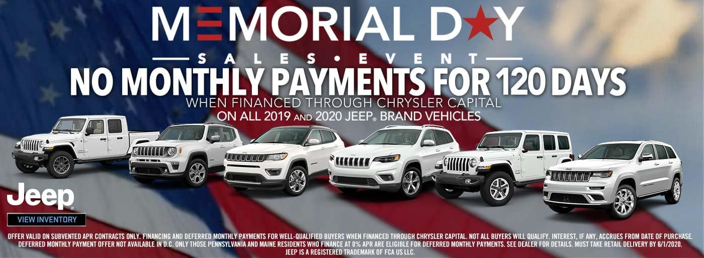 Antioch CDJR Memorial Day Sales Event: No Monthly Payments for 120 Days