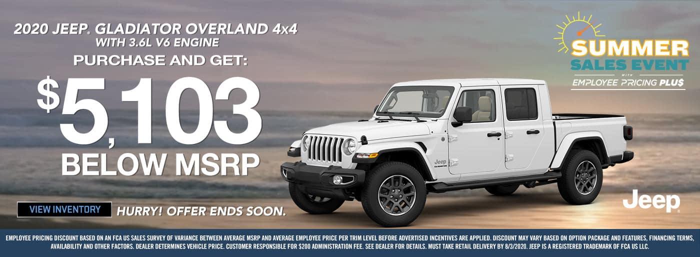 National 2020 Jeep Gladiator Overland Offer