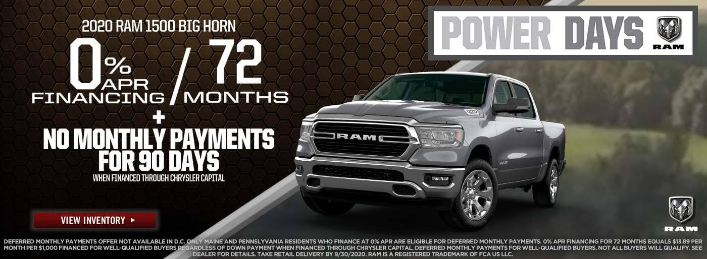 2020 Ram 1500 Big Horn 0%apr for 72mo