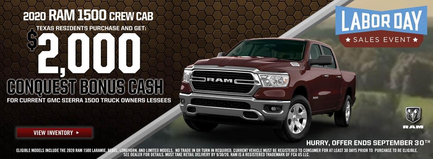 2020 Ram 1500 $2000 Bonus Cash