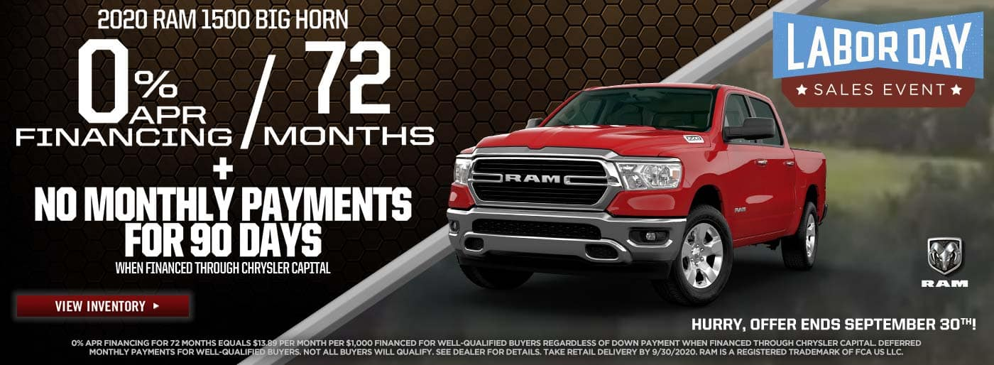 2020 Ram 1500 Big Horn 0% for 72mo