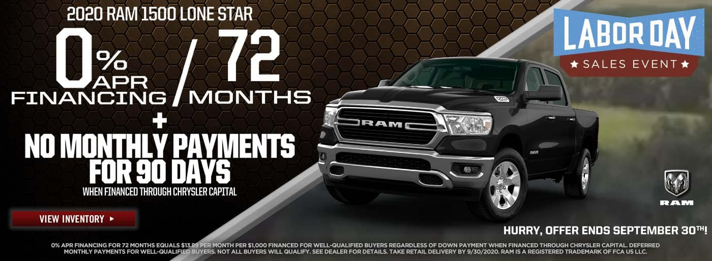 2020 Ram 1500 Lone Star 0% for 72mo