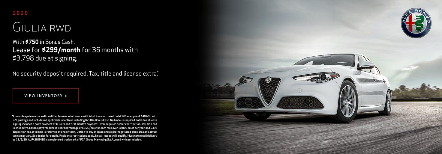 2020 Alfa Romeo Giulia RWD Lease for $299/mo for 36 mo