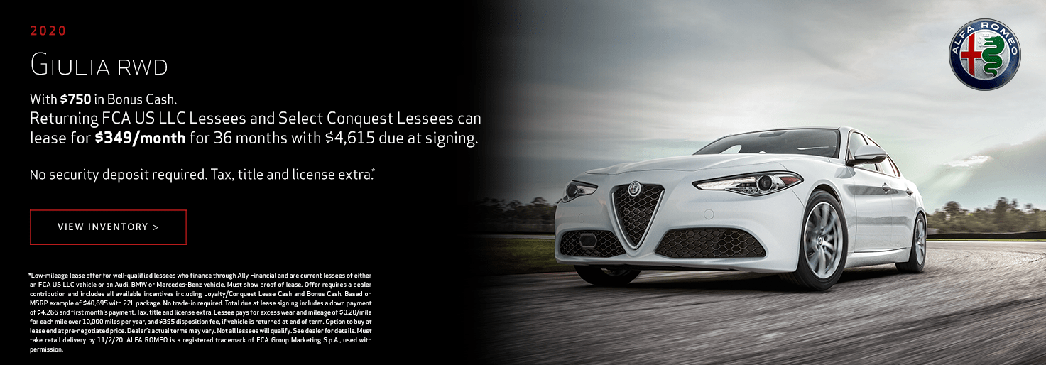2020 Alfa Romeo Giulia RWD Lease for $349/mo for 36 mo