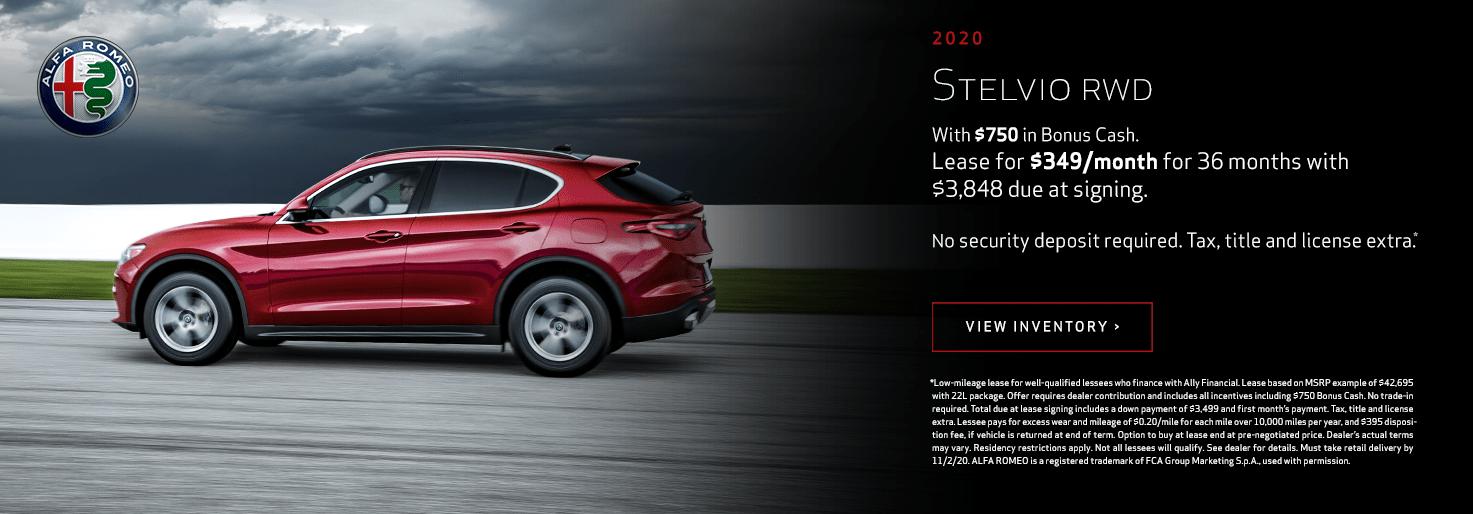 2020 Alfa Romeo Stelvio RWD Lease for $349/mo for 36 mo