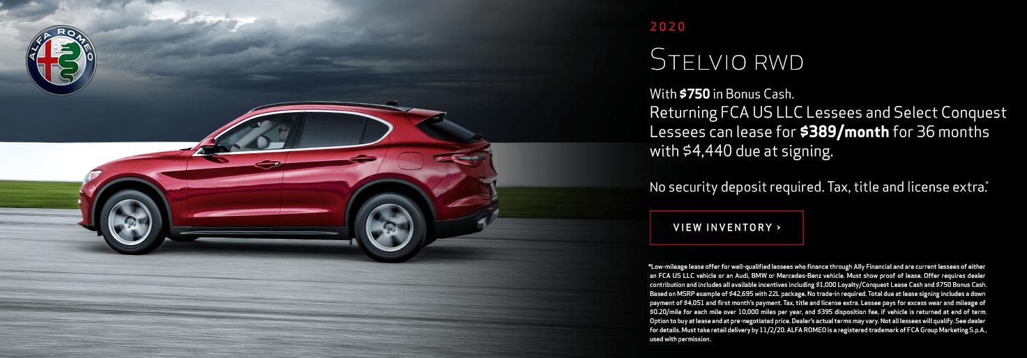 2020 Alfa Romeo Stelvio RWD Lease for $389/mo for 36 mo