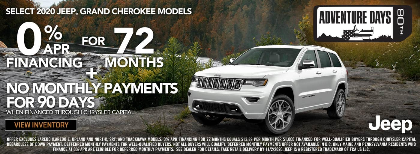 2020 Jeep Grand Cherokee 0% APR for 72 months